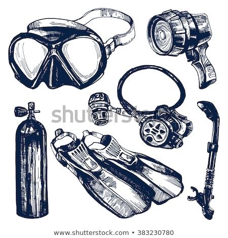 siyah · beyaz · ikon · şnorkel · maske · görünürlük - stok fotoğraf © rastudio