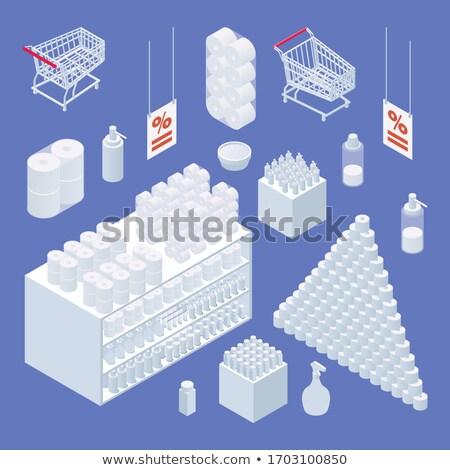 Wektora niebieski supermarket rack odizolowany biały Zdjęcia stock © dashadima
