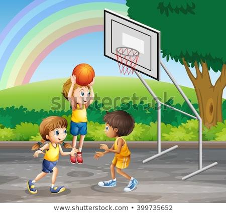 Foto stock: Crianças · jogar · basquetebol · cena · ilustração · escolas