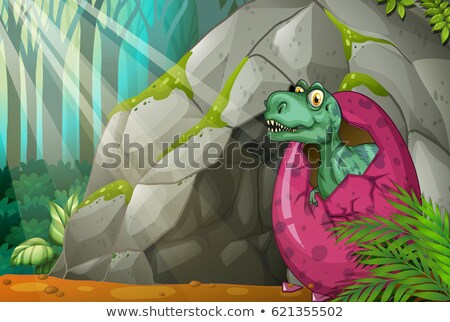 Dinosaur hatching egg in front of cave Stock photo © colematt