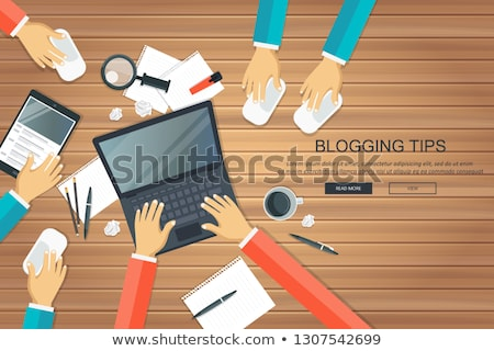 Writing a story or column for newspaper or magazine. Blogging tips concept. Office desk with equipme Stock photo © makyzz