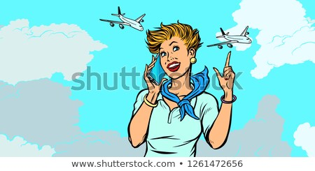 woman stewardess with phone, sky and planes Stock photo © studiostoks