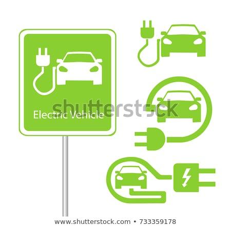 coche · eléctrico · mujer · vector · diseno · ilustración · aislado - foto stock © bluering