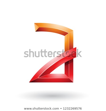 Stock photo: Orange and Red Embossed Letter A with Bended Joints Vector Illus