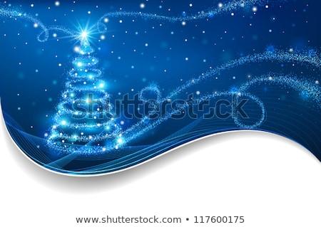 Heiter Weihnachten blau glitter Kiefer Form Stock foto © cienpies