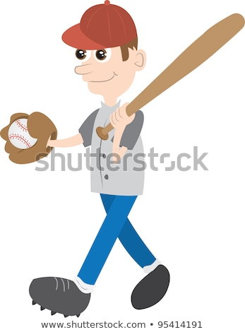 Cartoon Baseball Player Walking Stock photo © cthoman