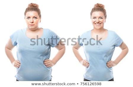 脂肪 · スリム · 女性 · 側面図 · グレー - ストックフォト © andreypopov