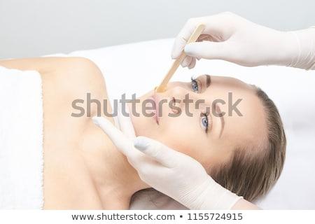 Terapeuta depilação com cera lábio mão estância termal Foto stock © AndreyPopov
