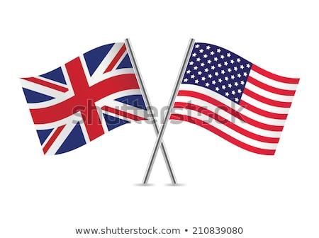 Zdjęcia stock: Dwa · flagi · Stany · Zjednoczone · odizolowany · biały