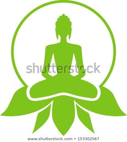 Stock fotó: Buddha · ül · lótuszvirág · rajz · rajz · stílus