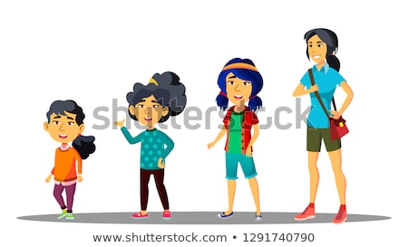 Asiatic Generation Female Vector. Mother, Daughter, Granddaughter, Baby, Teen. Vector. Isolated Illu Stock photo © pikepicture
