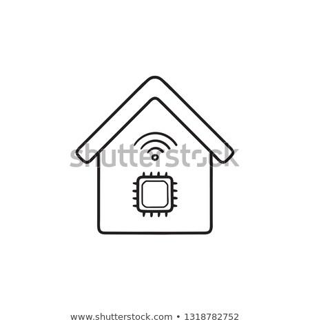 devre · kartı · karalama · ikon · bilgisayar - stok fotoğraf © rastudio