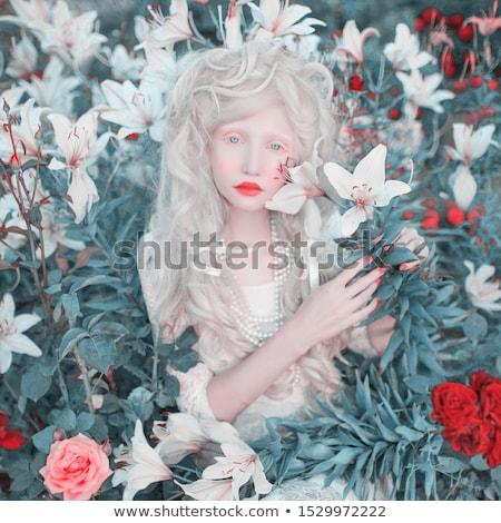 Belo albino menina lábios vermelhos branco jovem Foto stock © svetography
