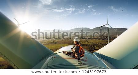 szélturbinák · naplemente · szélturbina · farm · szeszélyes · fókuszált - stock fotó © alexaldo