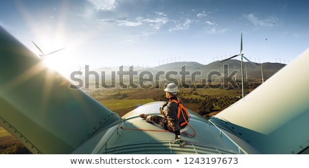 Groene energie zonsondergang stad water zon Stockfoto © alexaldo