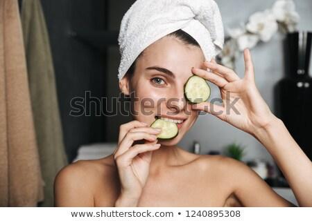 Fotografia · brunetka · kobieta · ręcznik · głowie - zdjęcia stock © deandrobot
