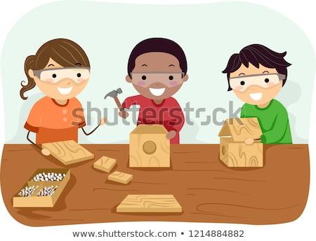 Stickman Kids Woodworking Illustration Stock photo © lenm
