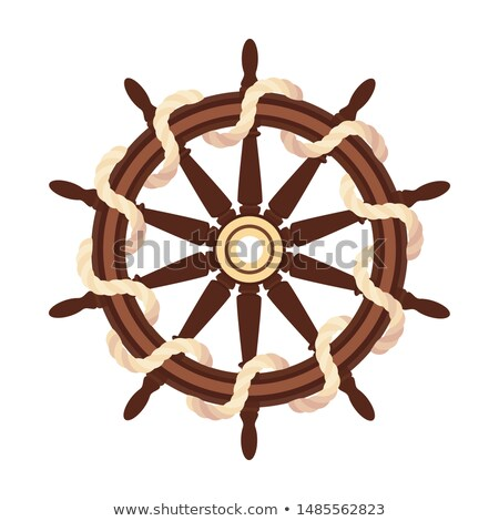 vector flat boat rope handwheel, ship wheel helm Stock photo © VetraKori