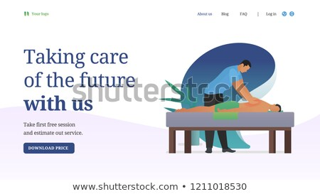 Business customer care service concept. Flat website banner for contact us, support, help, phone cal Stock photo © makyzz