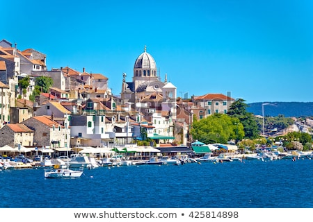 Old Sibenik historic waterfront and UNESCO cathedral view Stock photo © xbrchx