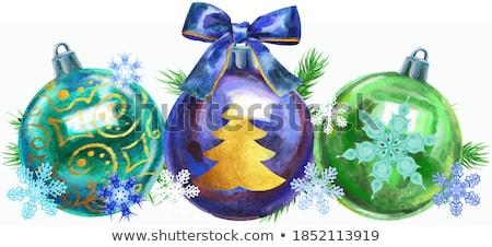 Navidad · acuarela · ilustración · chuchería · árbol · de · navidad · rama - foto stock © natalia_1947