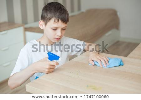 blue clothing boy_housekeeping Stock photo © toyotoyo