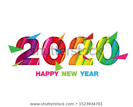 Happy New Year 2020 and numbers with tropical palm leaves and birds Stock photo © ussr