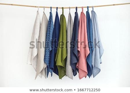 Witte handdoeken opknoping rustiek houten ladder Stockfoto © dashapetrenko