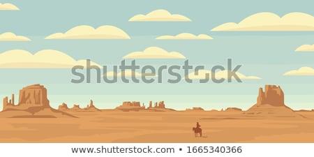 Westerse woestijn scène natuur illustratie gebouw Stockfoto © bluering
