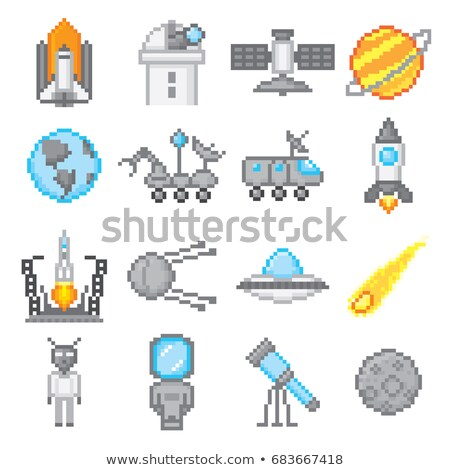 Stock photo: Pixel Game Space Graphics 8 Bit Aliens Spacecraft