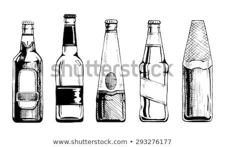 Drink Bottle and Glass in Vintage Woodcut Style Stock photo © Krisdog