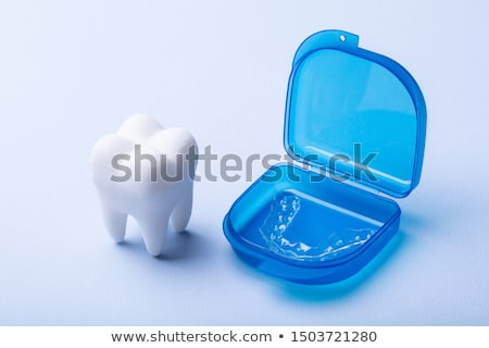 Stock photo: Dental Model And Case Of Mouth Guard Over Surface