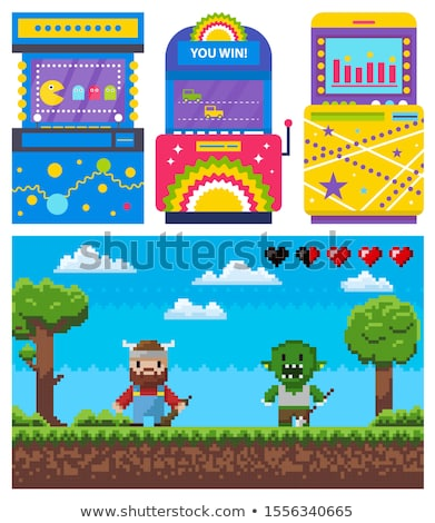 gambling machine pixel game heroes war vector stock photo © robuart