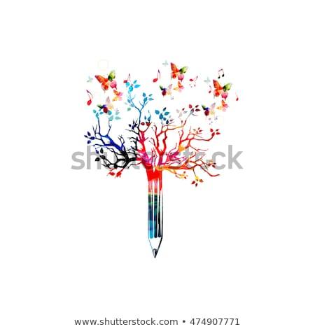 Albero colore matite creativo arte crescita Foto d'archivio © LoopAll