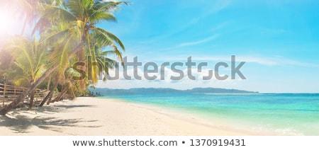Stock fotó: Gyönyörű · fehér · homok · tengerpart · égbolt · víz · tájkép