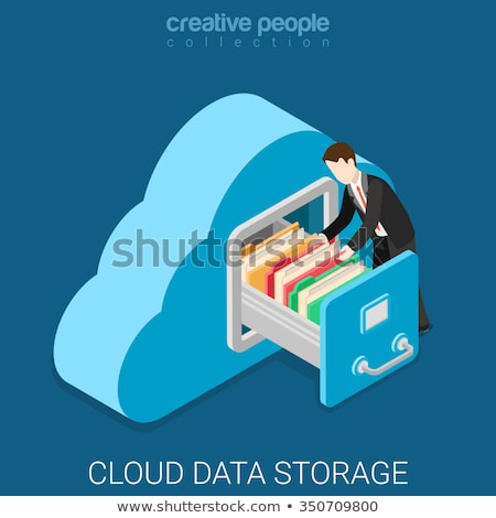 Secure cloud storage metaphor flat vector illustration Stock photo © Decorwithme