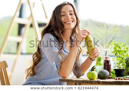 vrouw · drinken · fitness · vrouw · groene - stockfoto © andreypopov