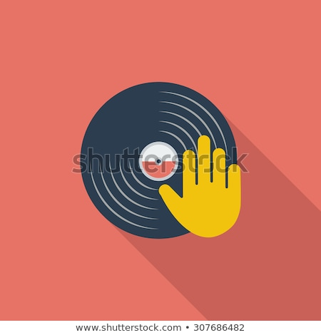 Vinyl schijf hand icon witte muziek Stockfoto © smoki