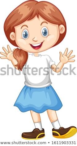 Happy girl niebieski spódnica ilustracja Zdjęcia stock © bluering