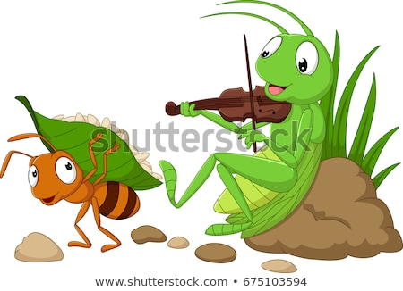 Desenho animado formiga gafanhoto música comida trabalhar Foto stock © tigatelu