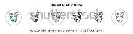 Gebroken klei vaas icon vector schets Stockfoto © pikepicture
