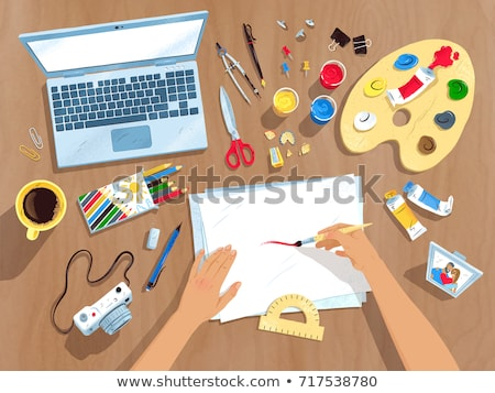 graphic designer hands working with protractor and pencil Stock photo © yupiramos