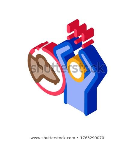 Emberi pánik izometrikus ikon vektor felirat Stock fotó © pikepicture