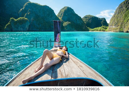 Csónak tengerpart Krabi víz tenger nyár Stock fotó © timbrk