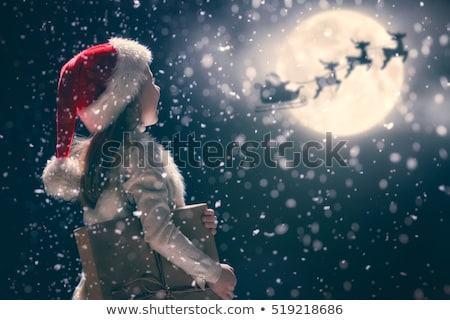 kerstman · meisje · christmas · aanwezig · verwonderd · Rood - stockfoto © aladin66