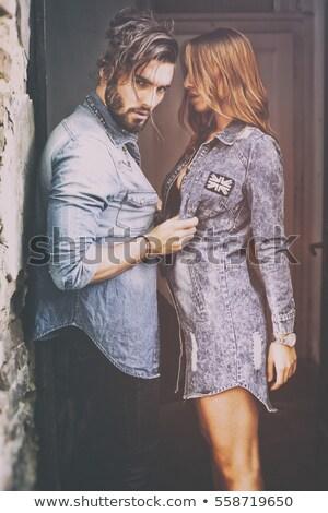 parejas · beso · primavera · cara · hombre · cabeza - foto stock © lovleah