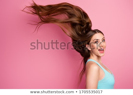 Battant cheveux fille magnifique femme visage Photo stock © Bananna