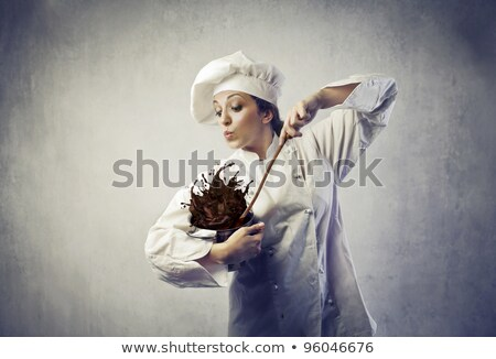 Funny young chef with a pot Stock photo © vladacanon