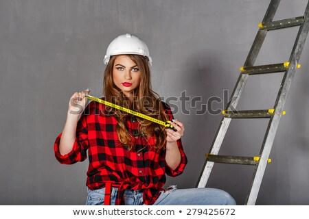 Női áll létra lány mosoly épület Stock fotó © photography33
