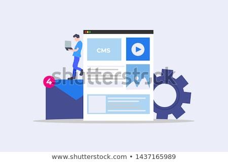 Cms piktogram komunikacji technologii przemysłu usługi Zdjęcia stock © bmwa_xiller